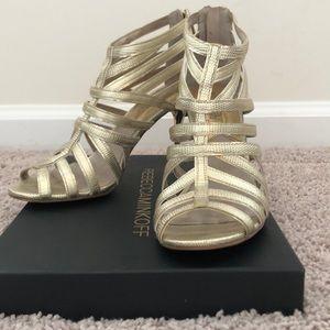 MICHAEL Michael Kors Gold Textured Heel/Sandal